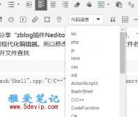 zblog插件Neditor编辑器代码语言调整